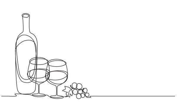 Wine glasses and bottle of wine. Vector. Continuous line drawing.