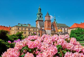 Wawel Castle and flowers in Krakow, Poland.