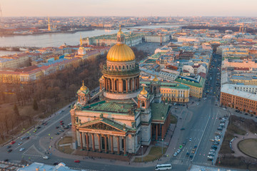 Sainr Isaac's Cathedral at dawn evening sunset aerial view Saint Petersburg above Russia. Fototapete