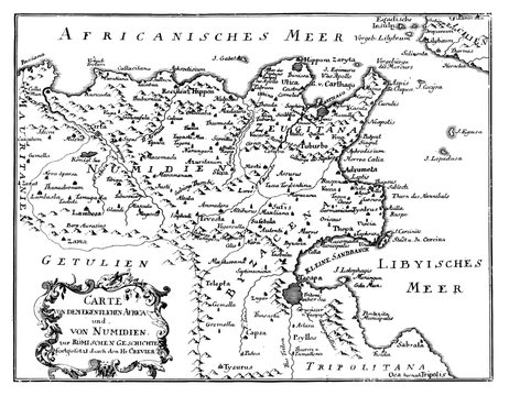 Vintage Vector Drawing or Engraving of Antique Map of Northern Africa from Roman Empire Times