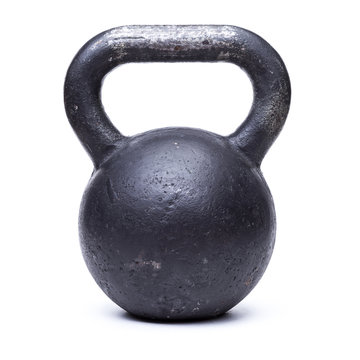 Black kettlebell  on white background
