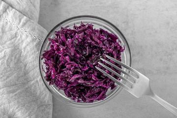 Purple naturally cured fermented sauerkraut in bowl