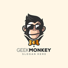 awesome monkey logo vector illustration