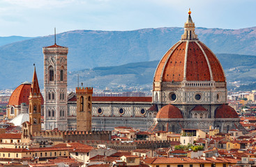 Autocollant pour porte Florence FLORENCE in Italy with the great dome of the Cathedral