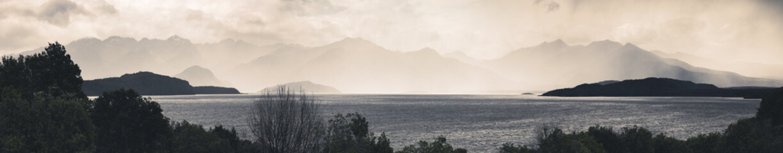 rainy day at Lake Te Anau, New Zealand Fotobehang