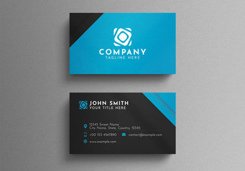 Black and Blue Corporate Business Card Layout