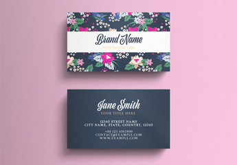 Business Card Layout On Floral Background