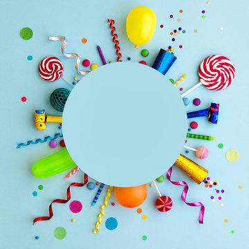 Colorful birthday party flat lay background