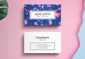Floral Business Card Layout on Blue Background