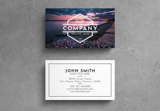 Graphic Business Card Layout with Photographic Background