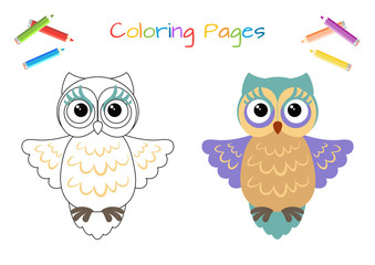 Funny little owl. Copy the picture. Coloring book. Educational game for children. Cartoon vector illustration