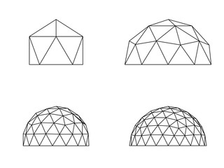 Geodesic domes illustration vector