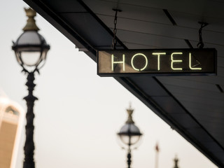 Hotel sign in London, England