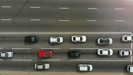 Highway with cars aerial,  top view