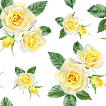 Seamless pattern with yellow roses and leaves. Watercolor hand drawn background.