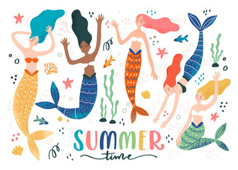 Colorful set with funny swimming mermaids, on white background with fish, sea star and inscription - summer time