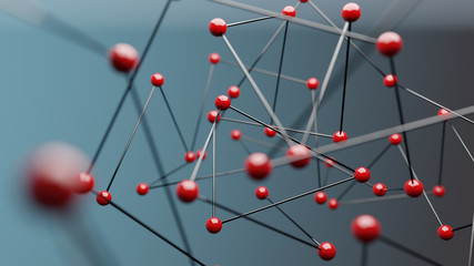 Red spheres on blue background, concept of network. 3D Rendering