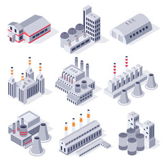Isometric factory buildings. Industrial power plant building, factories warehouse storage and industry estate 3D vector set