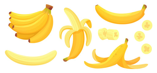 Cartoon bananas. Peel banana, yellow fruit and bunch of bananas isolated vector illustration set