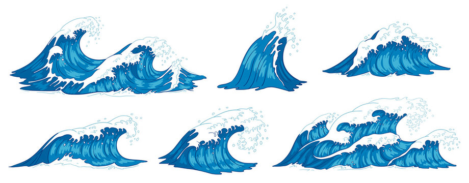 Ocean waves. Raging sea water wave, vintage storm waves and ripples tides hand drawn vector illustration