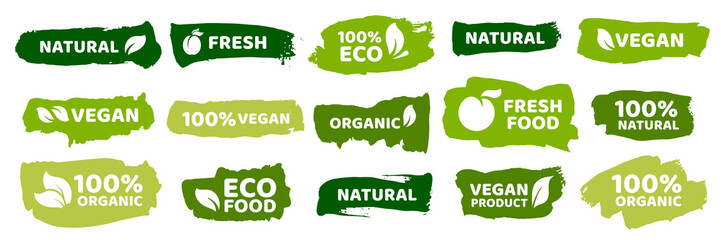 Organic food labels. Fresh eco vegetarian products, vegan label and healthy foods badges vector set Wall mural