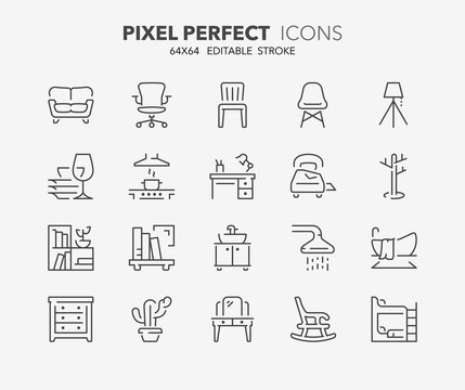 furniture thin line icons 2