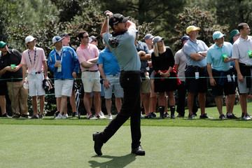 Jimmy Walker of the U.S. hits off the 15th tee during the second day of practice for the 2019 Masters golf tournament at the Augusta National Golf Club in Augusta, Georgia, U.S.