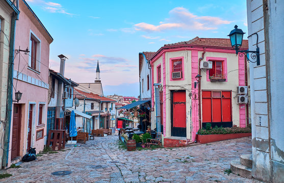 SKOPJE, MACEDONIA -AUGUST 7 2018: Streets of the Old City