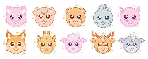 Vector Set Of Cute kawaii animals. Kawaii faces. Cartoon Animals. Kawaii rabbit. Kawaii eyes. Vector graphics to design
