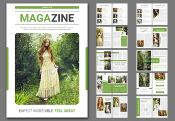 Magazine Layout with Green Accents