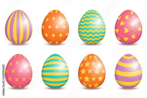 Set Of Realistic Easter Decorated Eggs Isolated On White Background