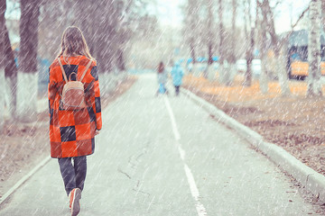 rainy weather girl posing fall / raindrops, spray, girl adult on a rain background