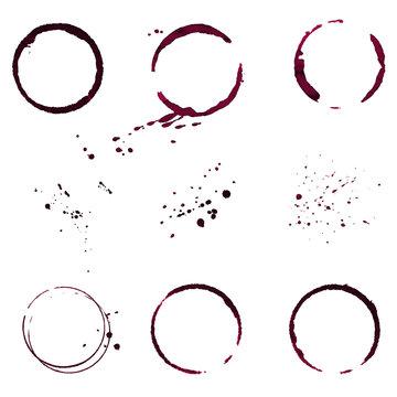 Grunge decorative ring wine stain vector set