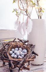 Hintergrund Karte schöner Hintergrund Eier im Korb Vintage