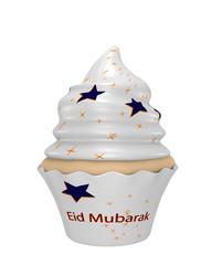 Cupcake mit dem Text Eid Mubarak, blauen und gelben Sternen.