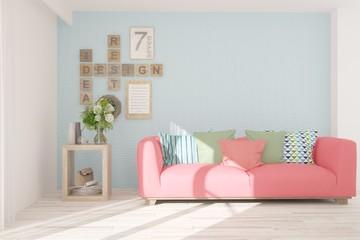 White stylish minimalist room with sofa. Scandinavian interior design. 3D illustration