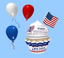 Cupcake mit Design für den amerikanischen Unabhängigkeitstag mit Sale Werbung, Luftballons und Landesflagge.