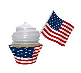 Cupcake mit USA-Design und Flagge.