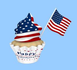 Cupcake mit USA-Design und dem Text Frohen Unabhängigkeitstag.