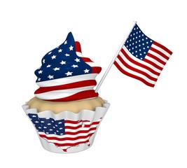 Cupcake mit USA-Design.