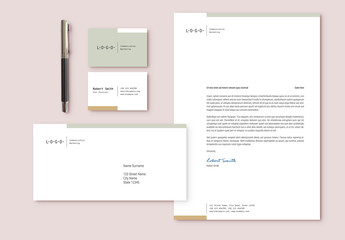 Stationery Set with Green and Beige Accents