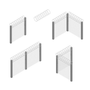 Prison Penitentiary Fence Set 3d Isometric View. Vector