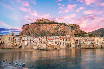 Wall Mural - Landscape with beach and medieval Cefalu town, Sicily island, Italy