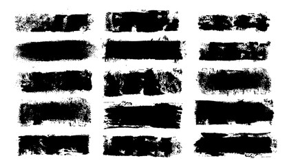 Fotobehang - Grunge Paint Roller. Vector brush Stroke. Distressed banner. Black stripes isolated. paintbrush collection. Modern Textured shape. Dry border in Black. Bulge lines. Vector grunge rollers set