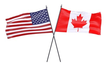 USA and Canada, two crossed flags isolated on white background. 3d image
