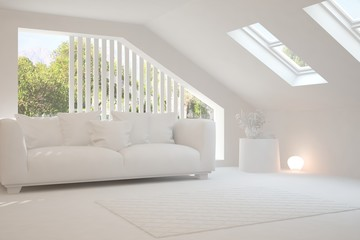 Stylish room in white color with sofa and green landscape in window. Scandinavian interior design. 3D illustration