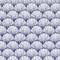 Vector blue and white seashells repeat pattern. Suitable for gift wrap, textile and wallpaper.