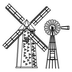 windmill and wind turbine black and white