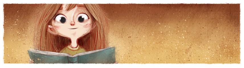 cara de niña con libro