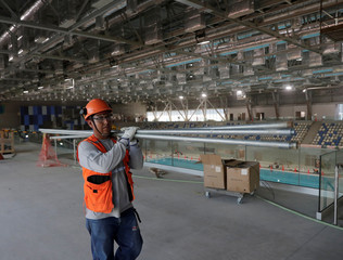 Olympic pool under construction in the Villa Deportiva Nacional (VIDENA), swimming venue, while preparations continue for the 2019 Pan American Games in Lima